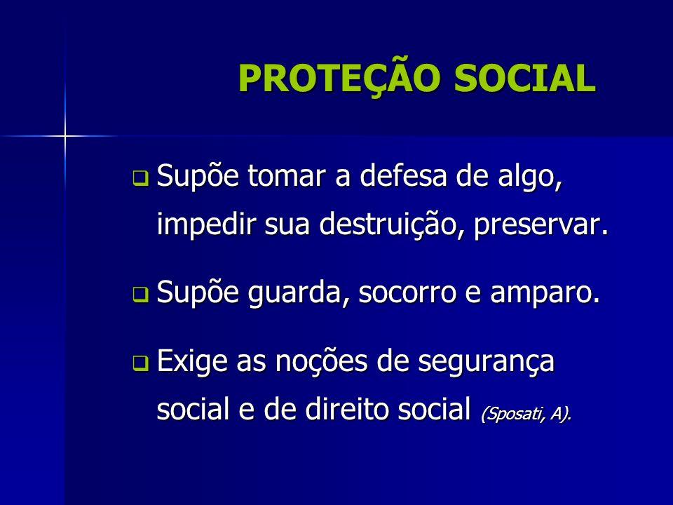 PROTEÇÃO SOCIAL Supõe tomar a defesa de algo, impedir sua destruição, preservar. Supõe guarda, socorro e amparo.