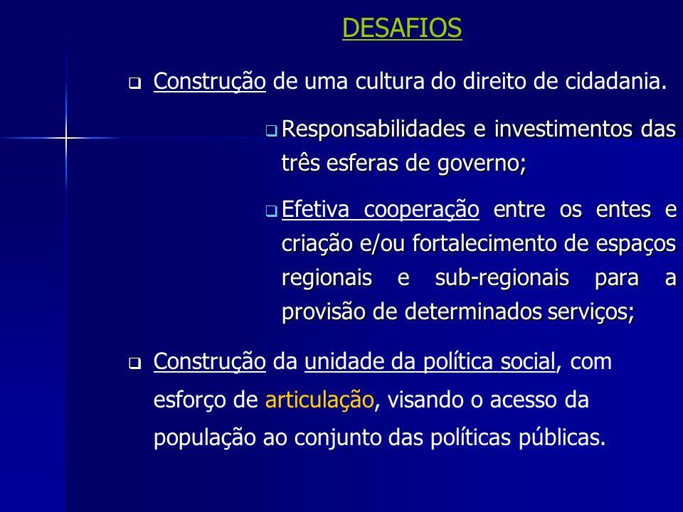 DESAFIOS Construção de uma cultura do direito de cidadania.