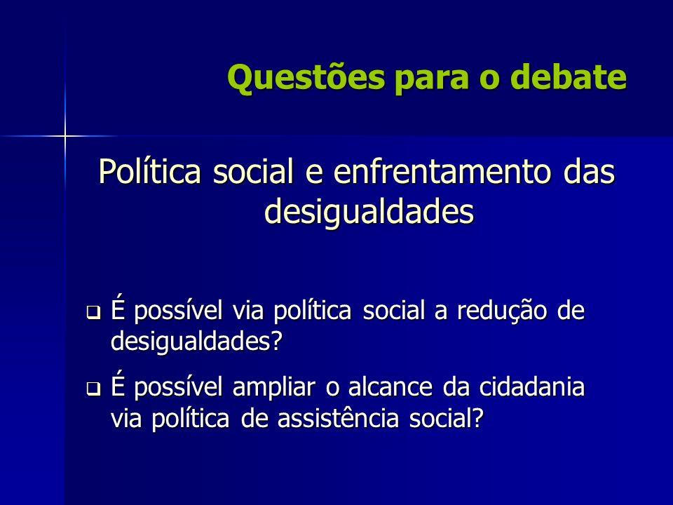 Política social e enfrentamento das desigualdades