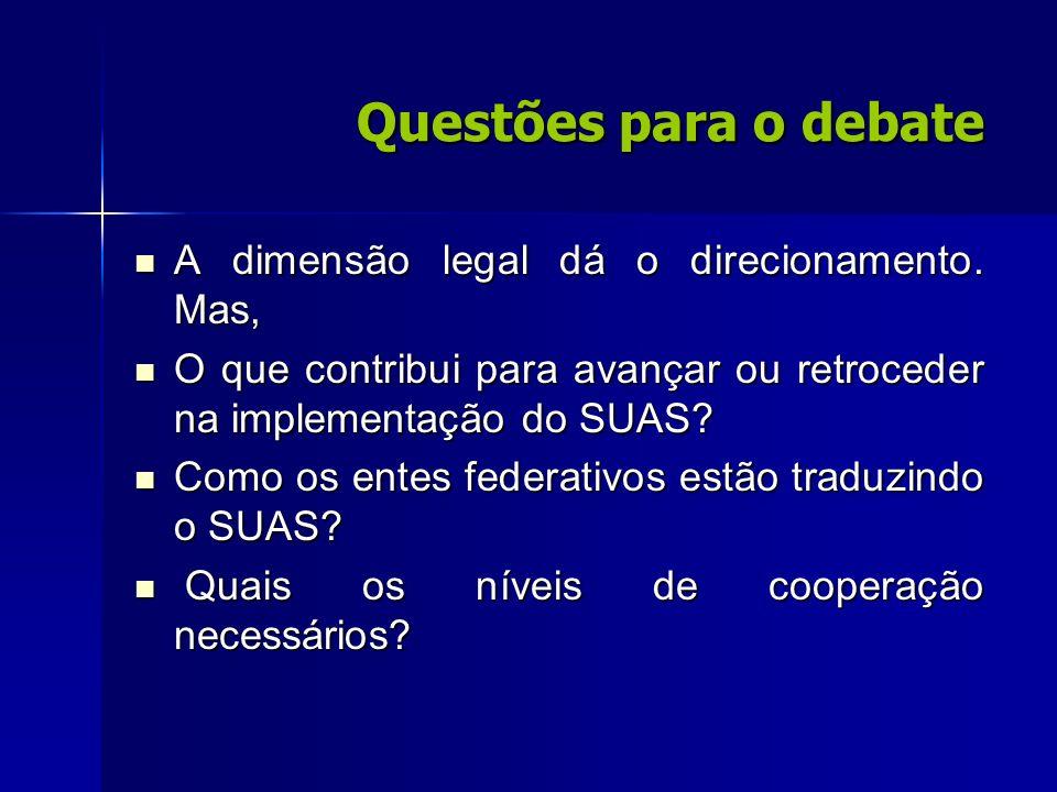 Questões para o debate A dimensão legal dá o direcionamento. Mas,