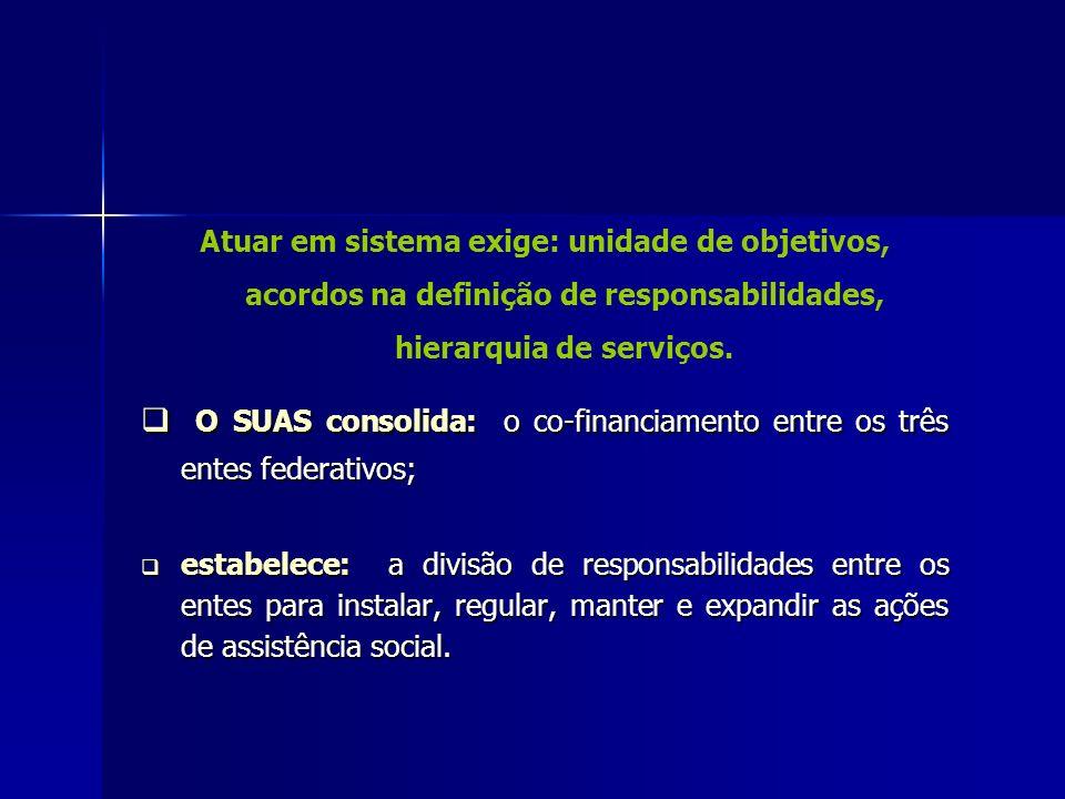 O SUAS consolida: o co-financiamento entre os três entes federativos;