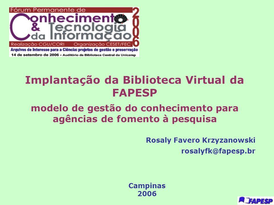 Implantação da Biblioteca Virtual da FAPESP