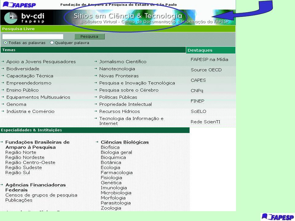 Esta é a pagina de Sites em C&T, selecionados segundo critérios ´predefinidos de qualidade.