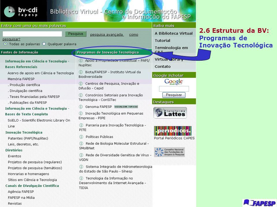 2.6 Estrutura da BV: Programas de Inovação Tecnológica