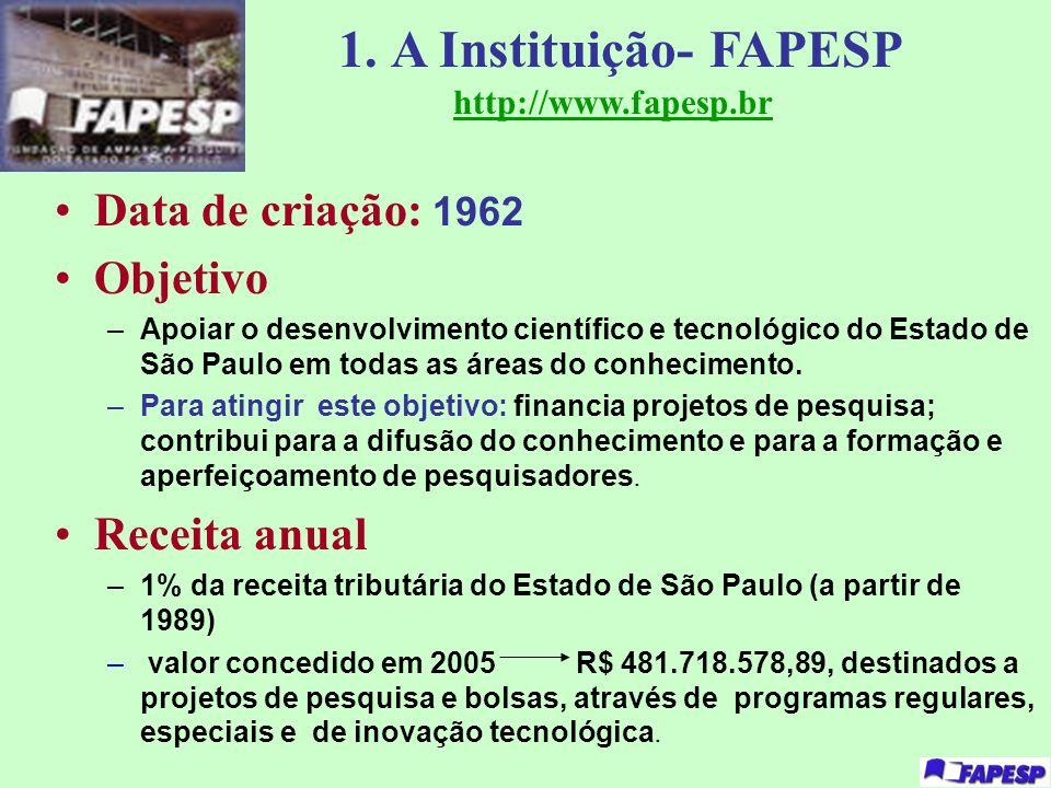 1. A Instituição- FAPESP http://www.fapesp.br