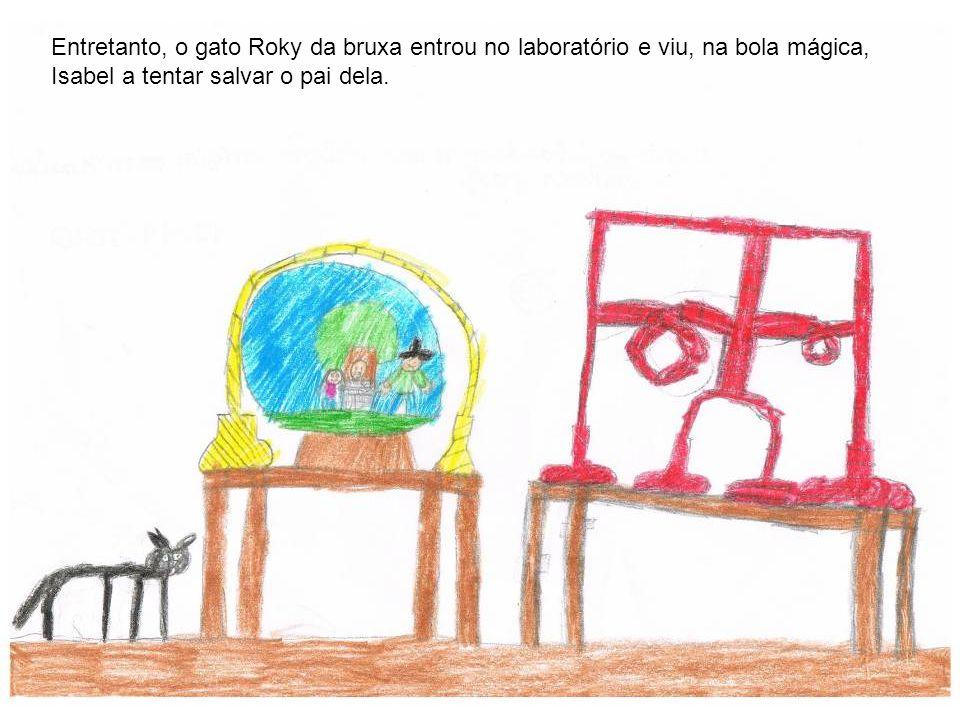 Entretanto, o gato Roky da bruxa entrou no laboratório e viu, na bola mágica, Isabel a tentar salvar o pai dela.