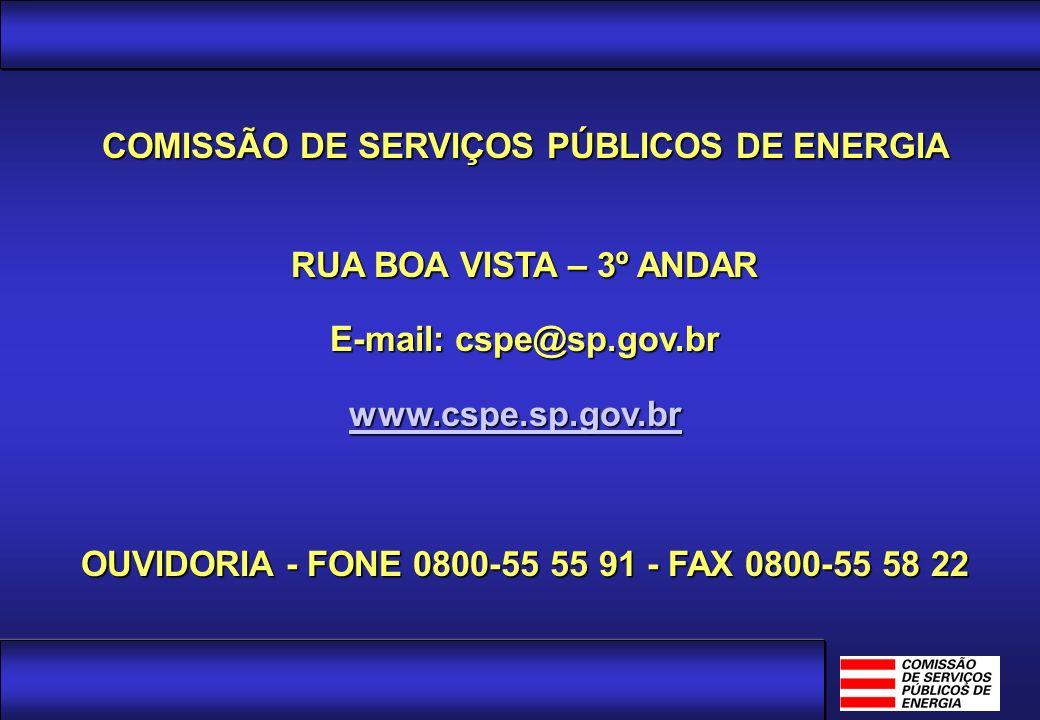 COMISSÃO DE SERVIÇOS PÚBLICOS DE ENERGIA RUA BOA VISTA – 3º ANDAR