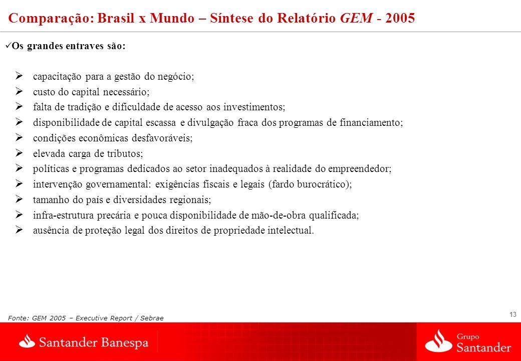 Comparação: Brasil x Mundo – Síntese do Relatório GEM - 2005