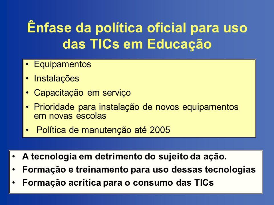 Ênfase da política oficial para uso das TICs em Educação