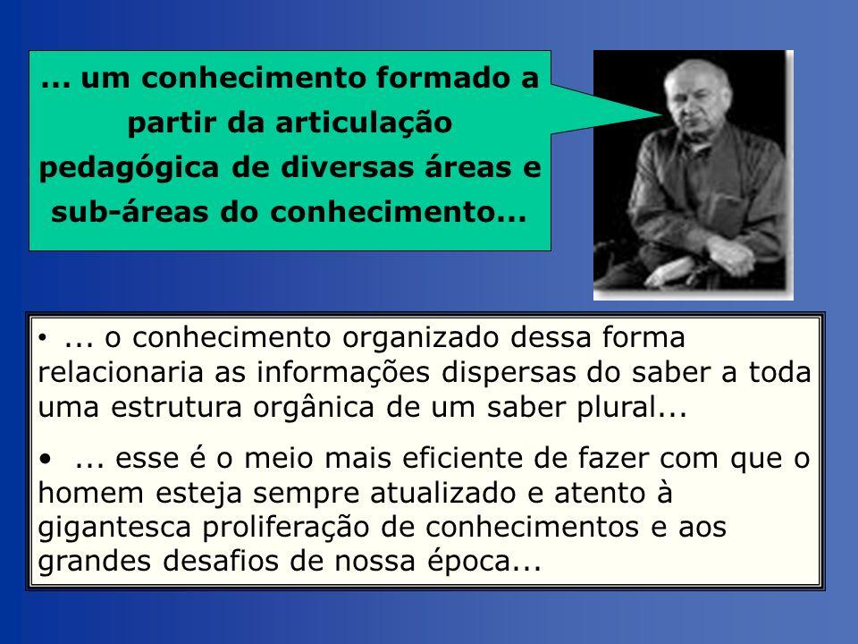 ... um conhecimento formado a partir da articulação pedagógica de diversas áreas e sub-áreas do conhecimento...
