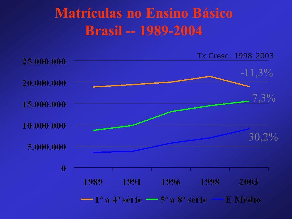Matrículas no Ensino Básico Brasil -- 1989-2004