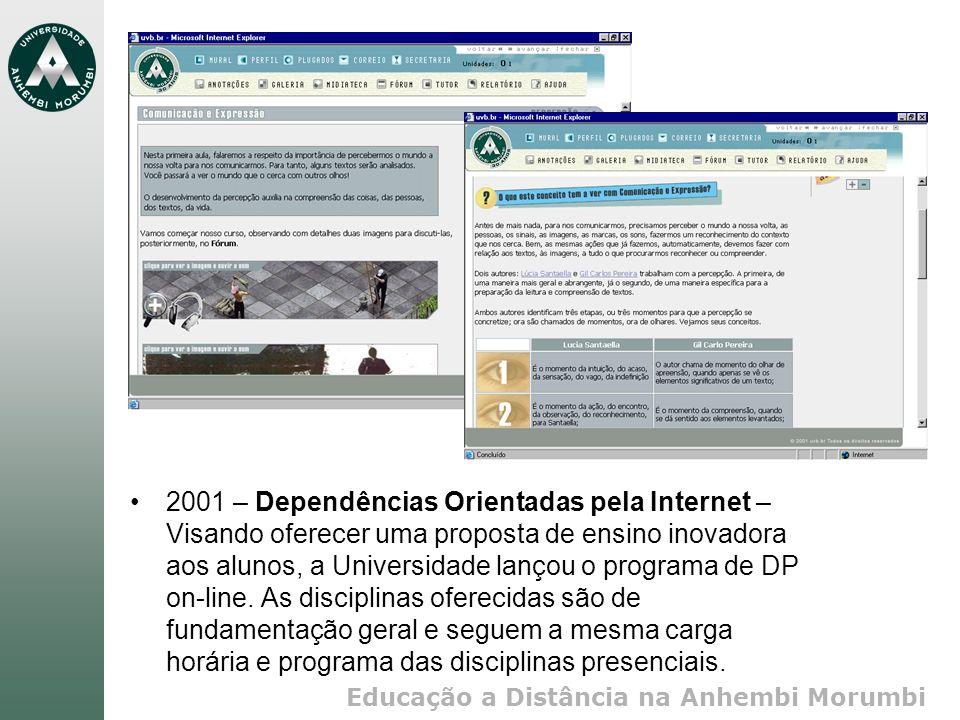 2001 – Dependências Orientadas pela Internet – Visando oferecer uma proposta de ensino inovadora aos alunos, a Universidade lançou o programa de DP on-line.