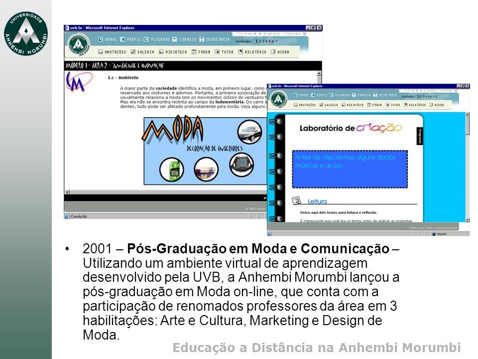 2001 – Pós-Graduação em Moda e Comunicação –Utilizando um ambiente virtual de aprendizagem desenvolvido pela UVB, a Anhembi Morumbi lançou a pós-graduação em Moda on-line, que conta com a participação de renomados professores da área em 3 habilitações: Arte e Cultura, Marketing e Design de Moda.