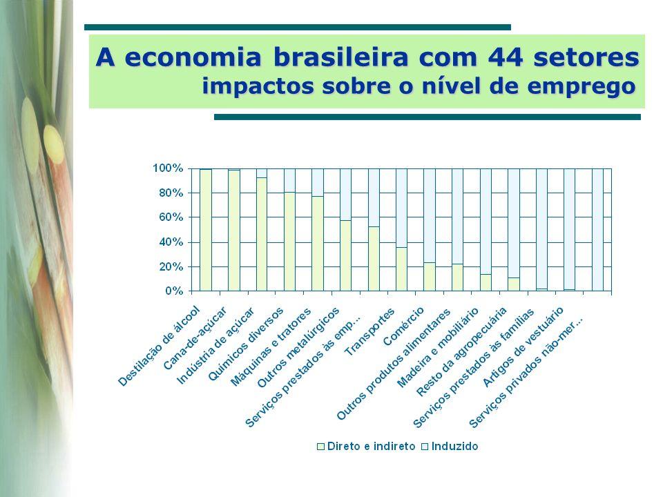 A economia brasileira com 44 setores impactos sobre o nível de emprego