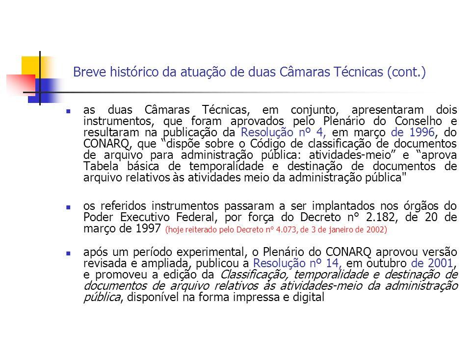 Breve histórico da atuação de duas Câmaras Técnicas (cont.)