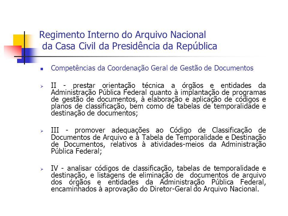 Regimento Interno do Arquivo Nacional da Casa Civil da Presidência da República