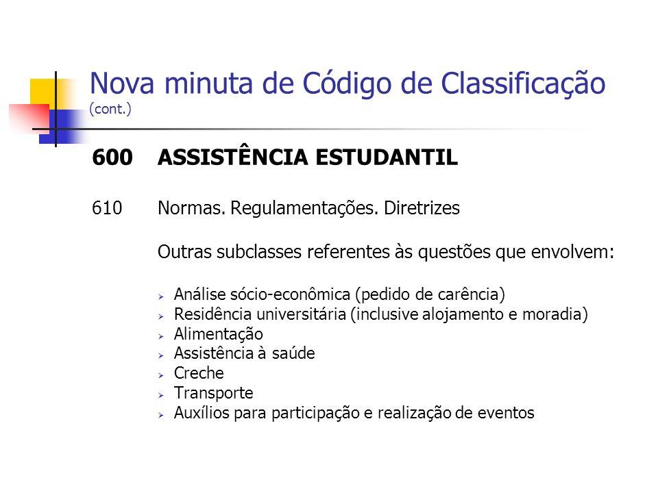 Nova minuta de Código de Classificação (cont.)