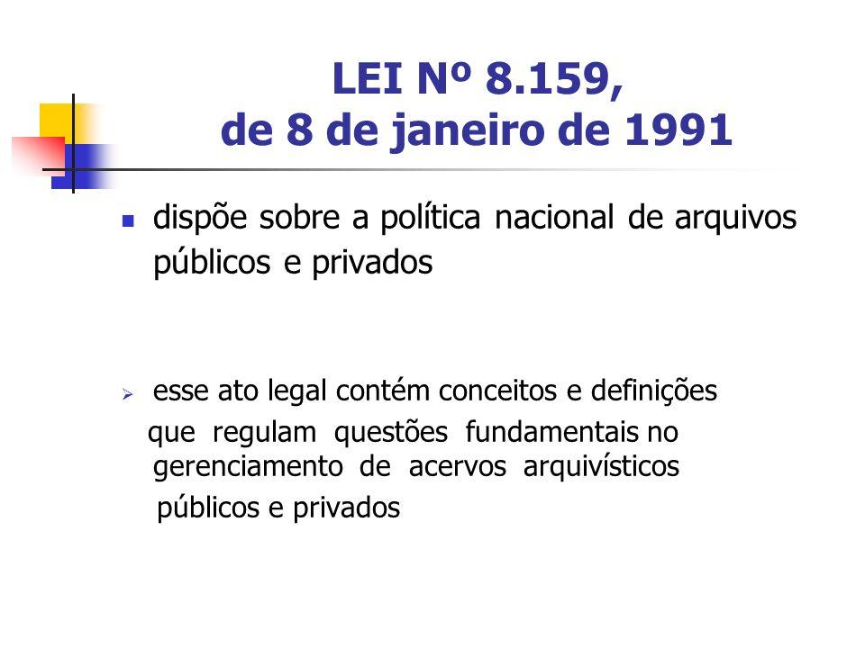LEI Nº 8.159, de 8 de janeiro de 1991 dispõe sobre a política nacional de arquivos públicos e privados.
