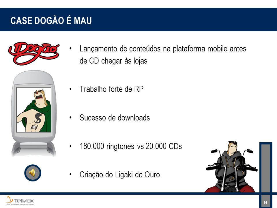 CASE DOGÃO É MAU Lançamento de conteúdos na plataforma mobile antes de CD chegar às lojas. Trabalho forte de RP.