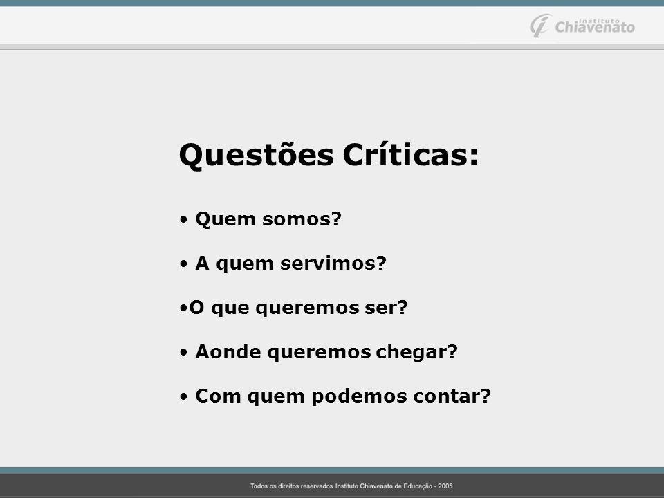 Questões Críticas: Quem somos A quem servimos O que queremos ser