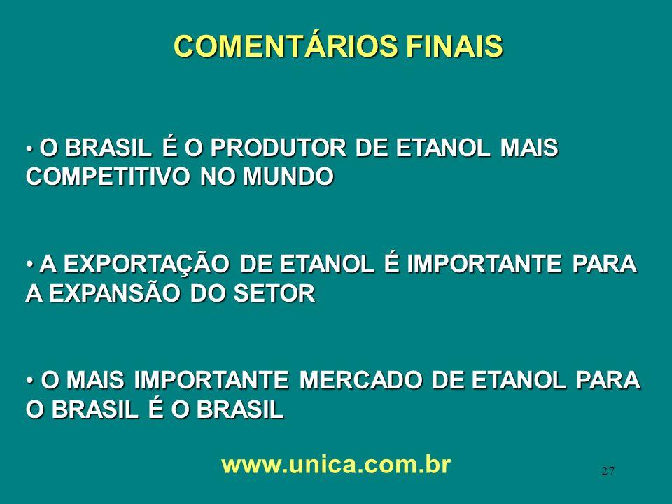 COMENTÁRIOS FINAIS www.unica.com.br