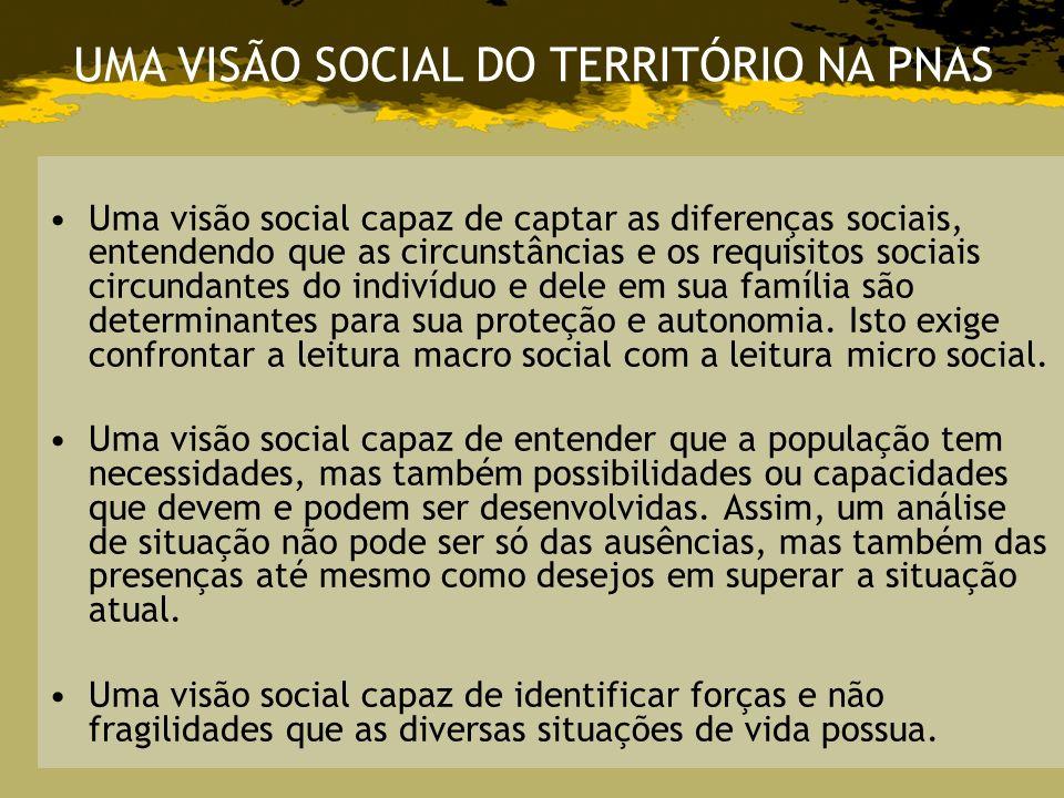 UMA VISÃO SOCIAL DO TERRITÓRIO NA PNAS
