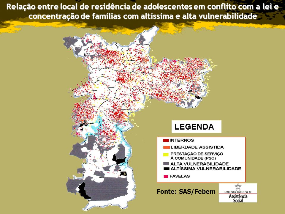 Relação entre local de residência de adolescentes em conflito com a lei e concentração de famílias com altíssima e alta vulnerabilidade
