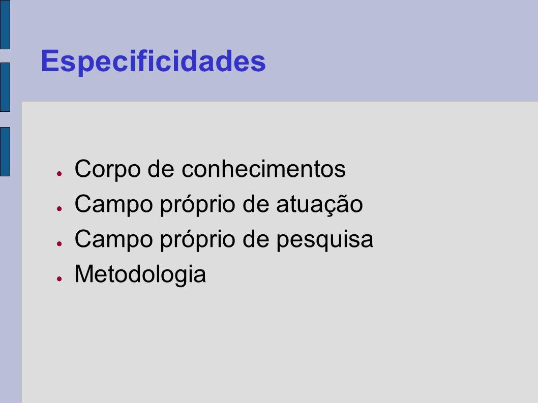 Especificidades Corpo de conhecimentos Campo próprio de atuação