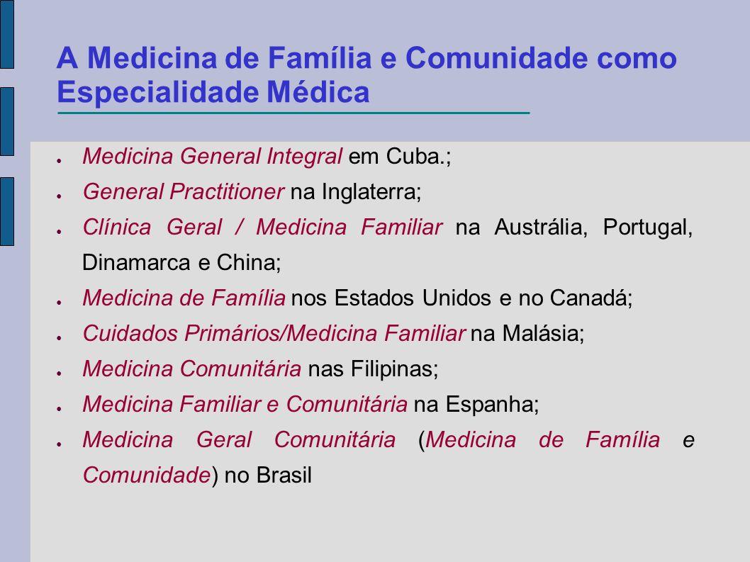 A Medicina de Família e Comunidade como Especialidade Médica