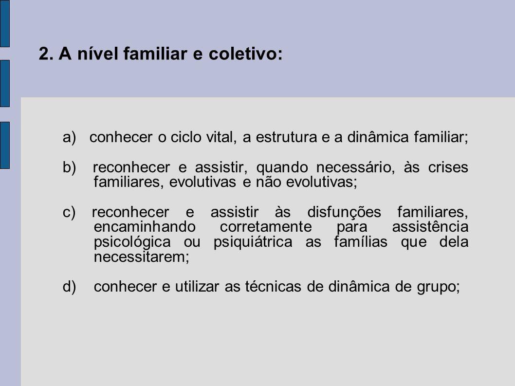 2. A nível familiar e coletivo: