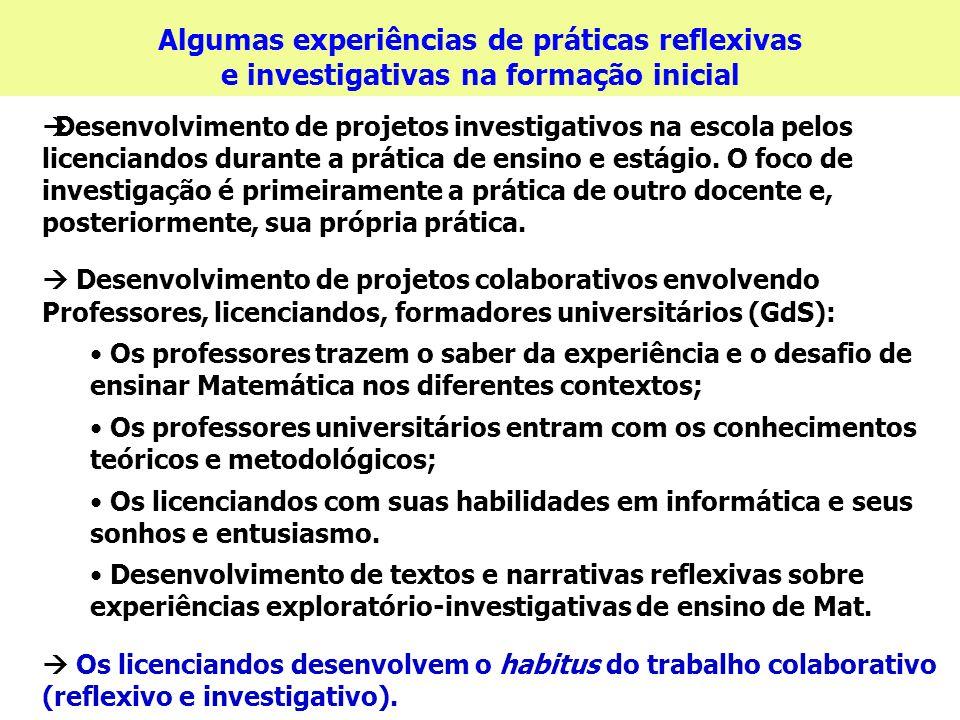 Algumas experiências de práticas reflexivas e investigativas na formação inicial