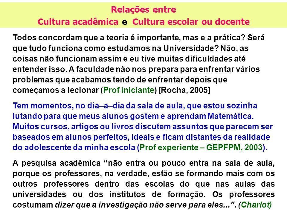 Cultura acadêmica e Cultura escolar ou docente
