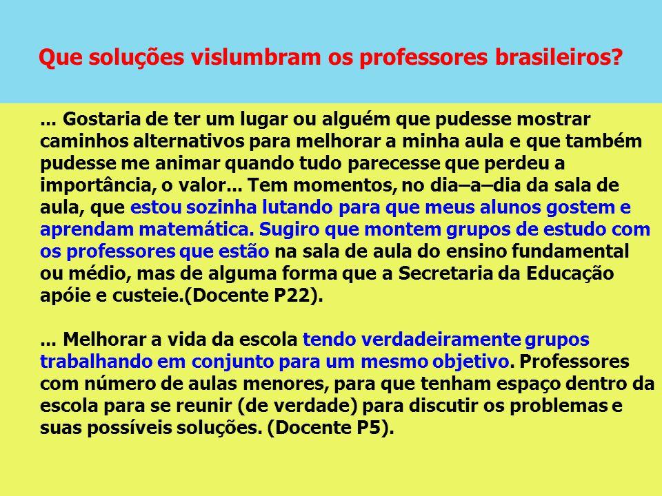 Que soluções vislumbram os professores brasileiros