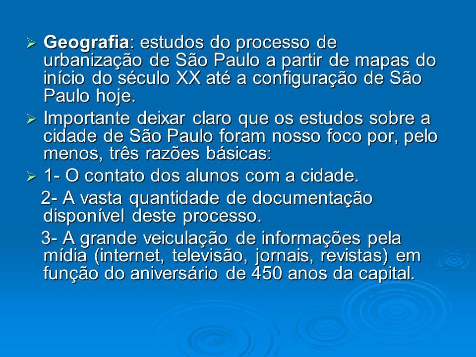 Geografia: estudos do processo de urbanização de São Paulo a partir de mapas do início do século XX até a configuração de São Paulo hoje.