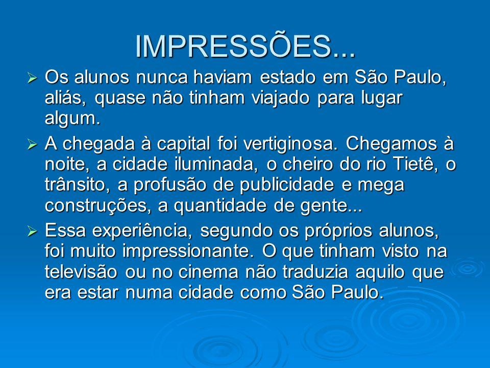 IMPRESSÕES... Os alunos nunca haviam estado em São Paulo, aliás, quase não tinham viajado para lugar algum.