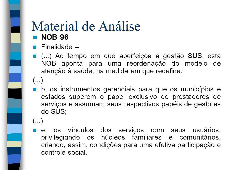 Material de Análise NOB 96 Finalidade –