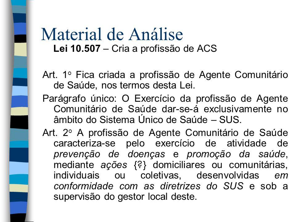 Material de Análise Lei 10.507 – Cria a profissão de ACS