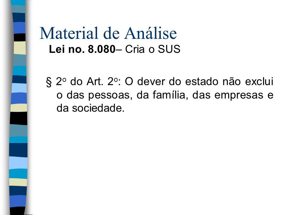 Material de Análise Lei no. 8.080– Cria o SUS