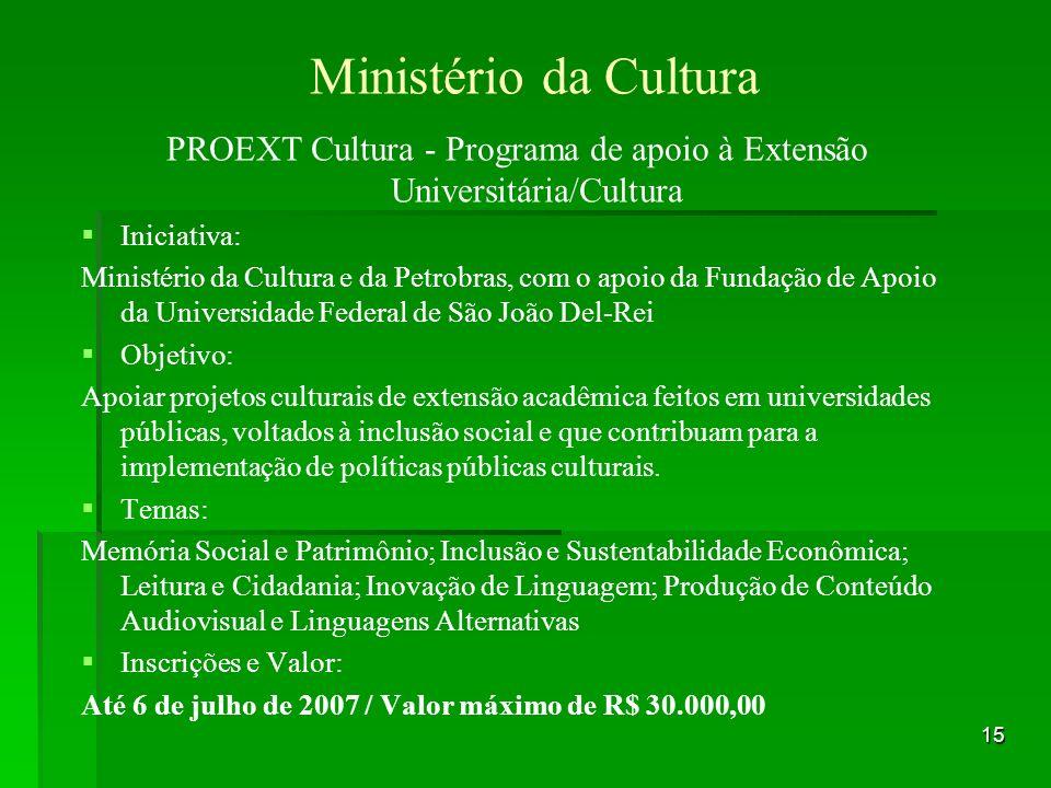 PROEXT Cultura - Programa de apoio à Extensão Universitária/Cultura