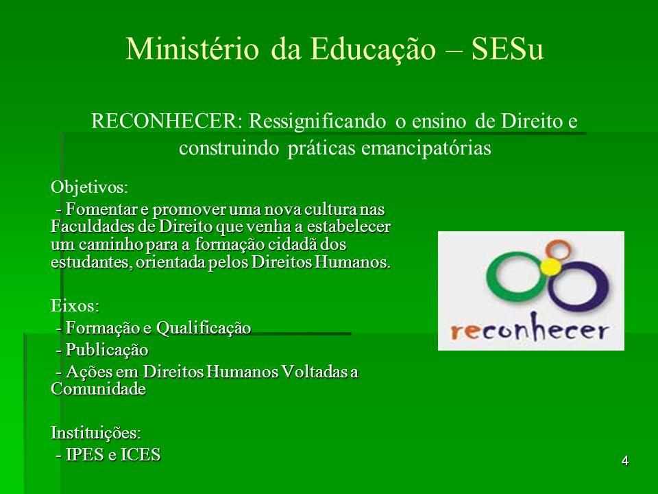Ministério da Educação – SESu RECONHECER: Ressignificando o ensino de Direito e construindo práticas emancipatórias