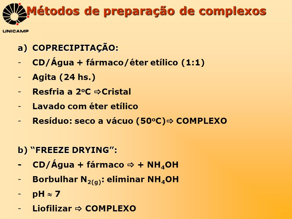 Métodos de preparação de complexos