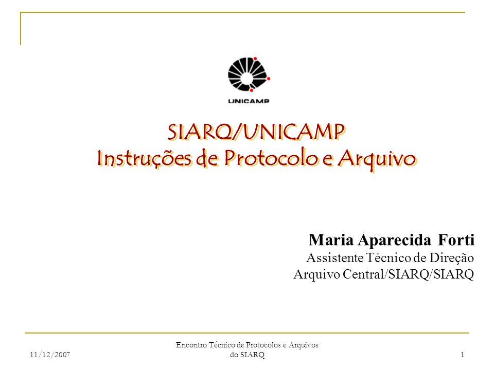 Instruções de Protocolo e Arquivo