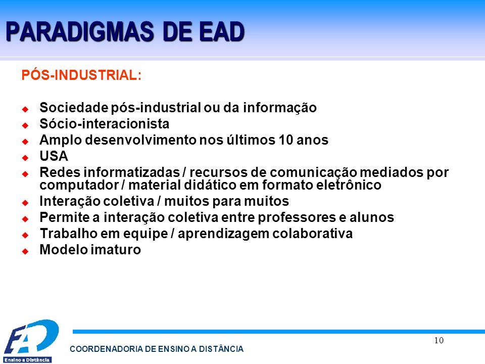 PARADIGMAS DE EAD PÓS-INDUSTRIAL: