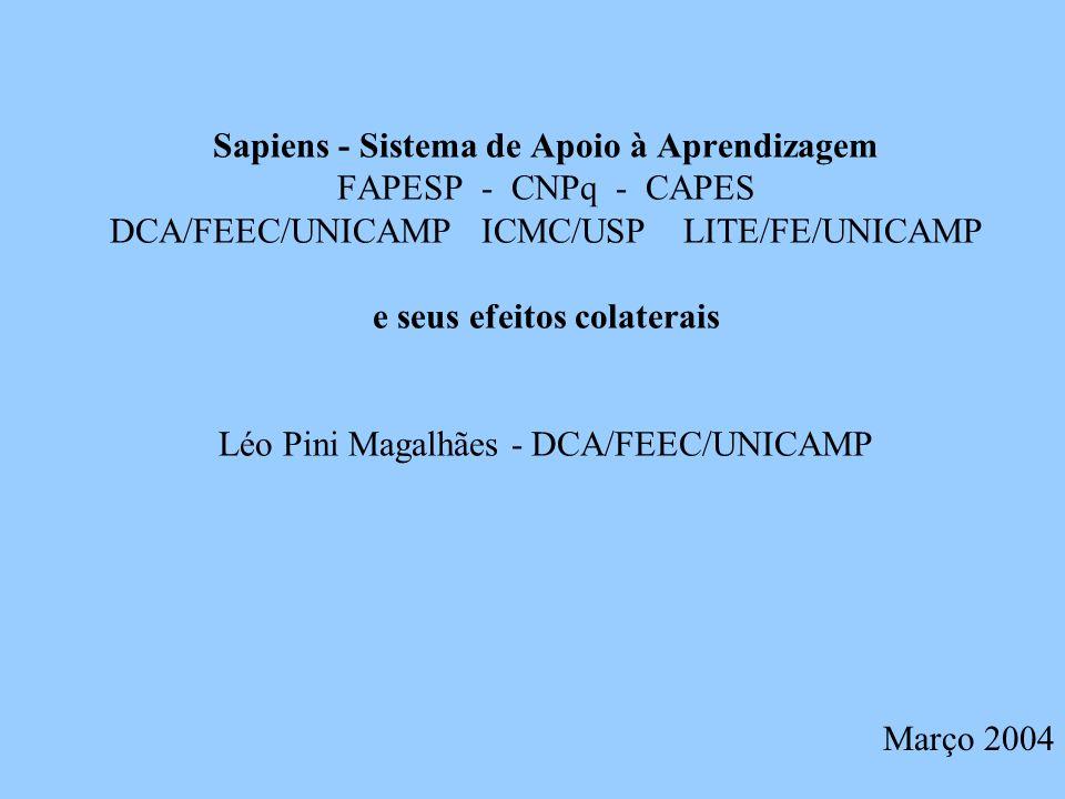 Sapiens - Sistema de Apoio à Aprendizagem FAPESP - CNPq - CAPES DCA/FEEC/UNICAMP ICMC/USP LITE/FE/UNICAMP e seus efeitos colaterais Léo Pini Magalhães - DCA/FEEC/UNICAMP
