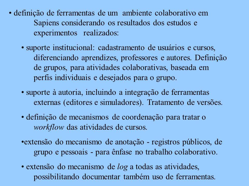 definição de ferramentas de um ambiente colaborativo em