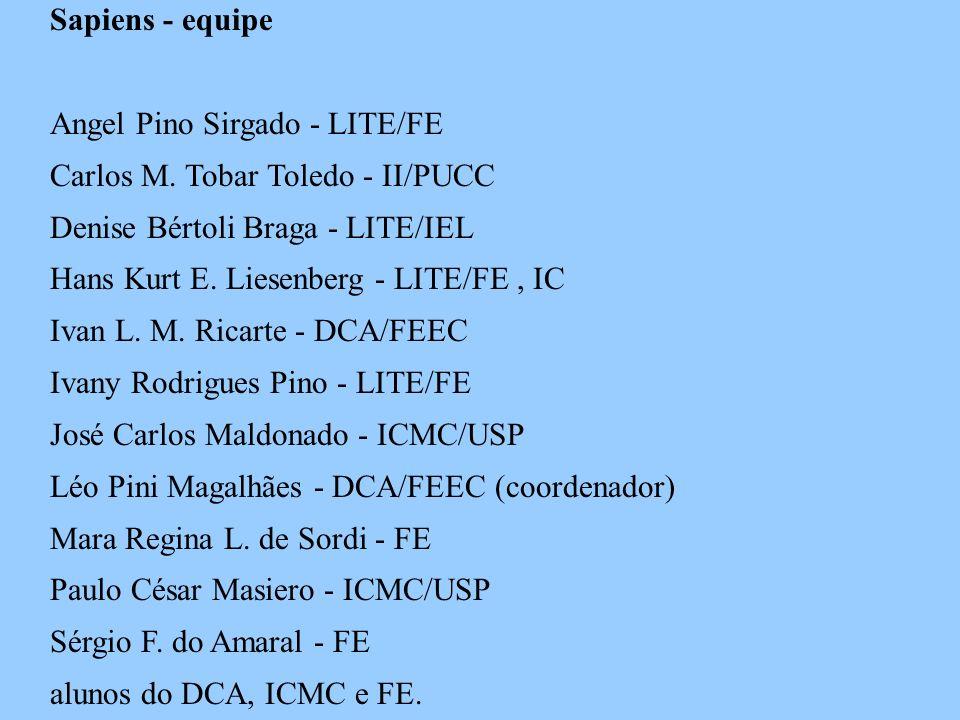 Sapiens - equipe Angel Pino Sirgado - LITE/FE. Carlos M. Tobar Toledo - II/PUCC. Denise Bértoli Braga - LITE/IEL.