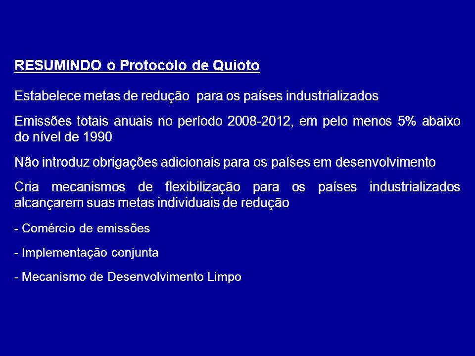 RESUMINDO o Protocolo de Quioto