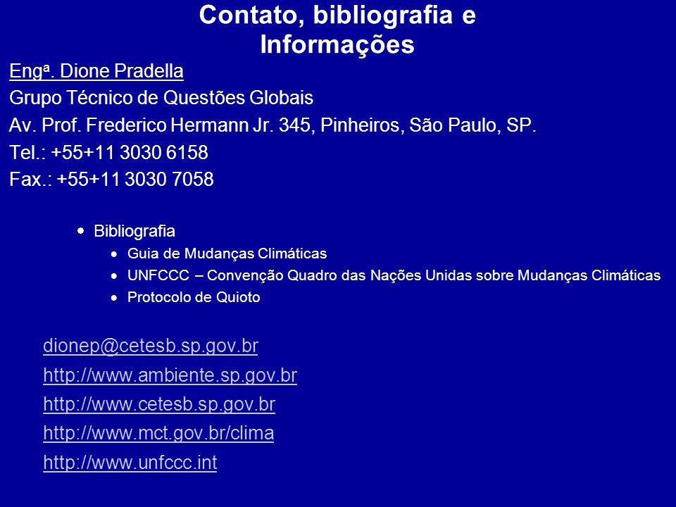 Contato, bibliografia e Informações
