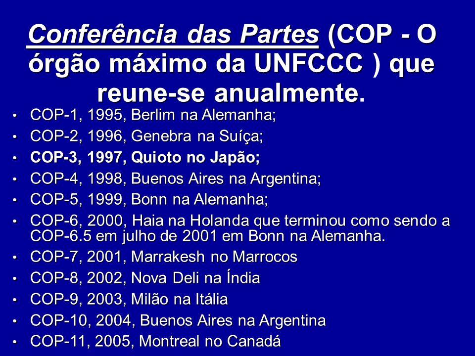 Conferência das Partes (COP - O órgão máximo da UNFCCC ) que reune-se anualmente.