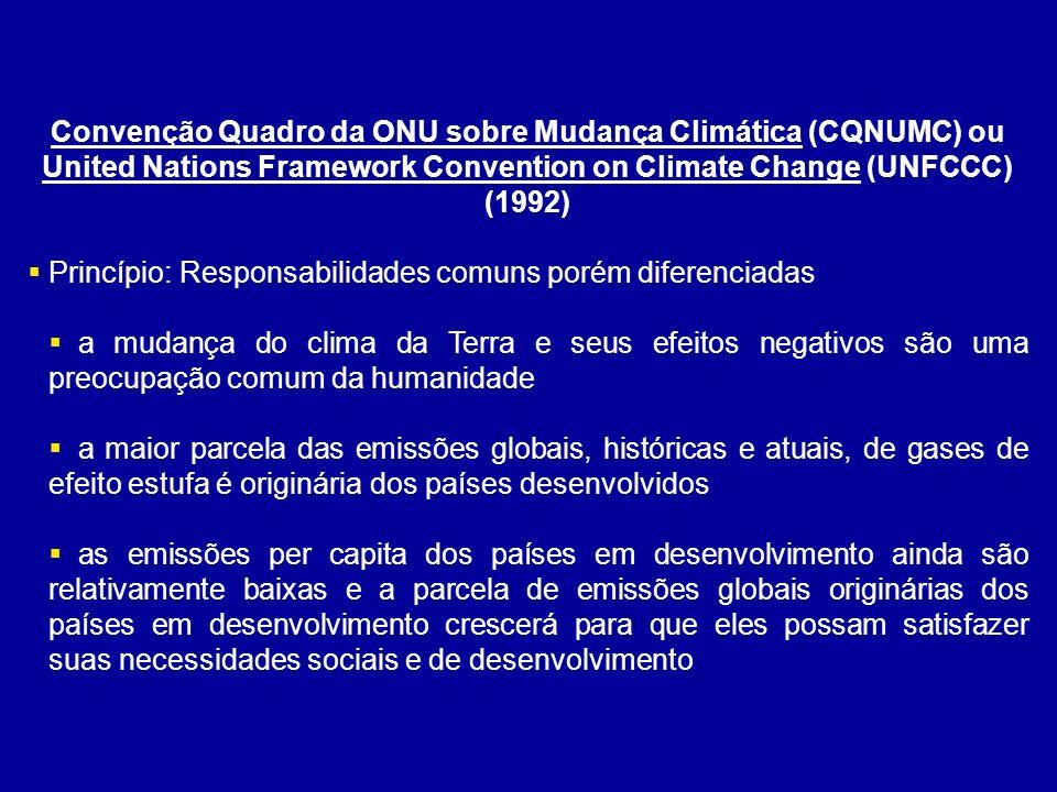 Convenção Quadro da ONU sobre Mudança Climática (CQNUMC) ou